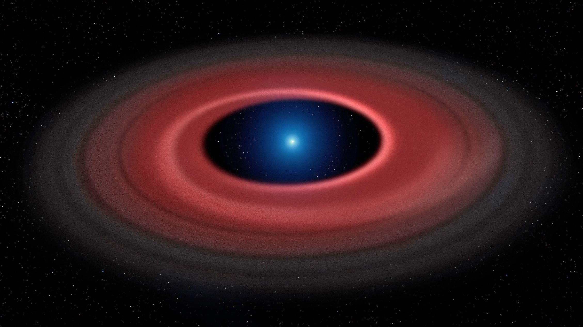 An asteroid torn apart by the strong gravity of a white dwarf has formed a ring of dust particles and debris orbiting the Earth-sized burnt out stellar core.  - Image Credit: Mark Garlick ( www.markgarlick.com ) and University of Warwick/ESO via  ESO.org