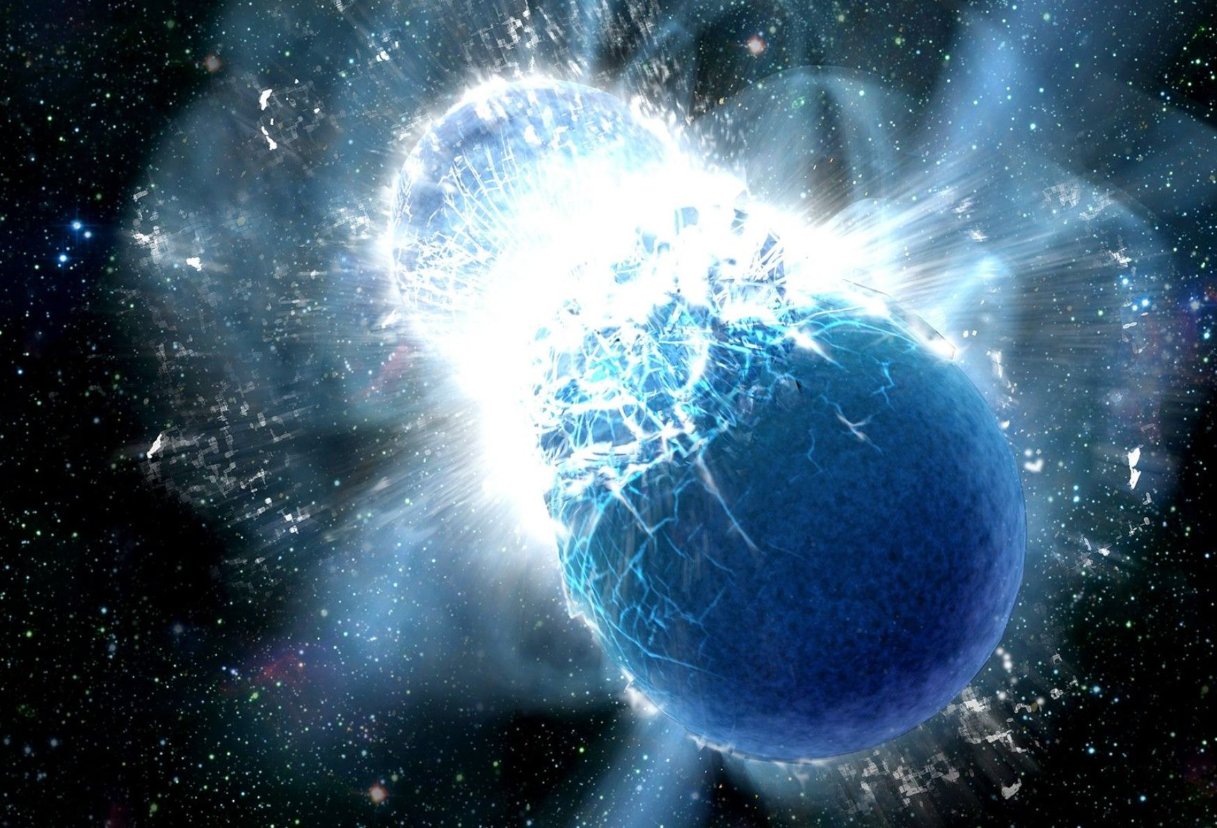 Artist's depiction of a neutron star collision after inwards spiral. - Image Credit: (Credit: NASA/Swift/Dana Berry)