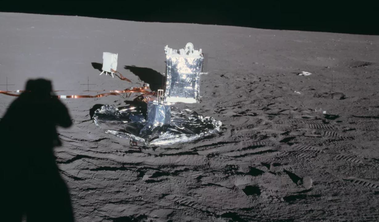 The seismometer deployed on the moon by Apollo 14 (nearest of the three instruments). - Image Credit: NASA
