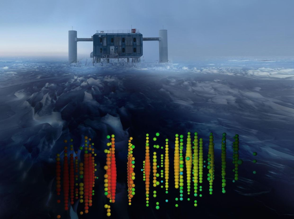 This image shows a visual representation of one of the highest-energy neutrino detections superimposed on a view of the IceCube Lab at the South Pole. - Image Credit: IceCube Collaboration