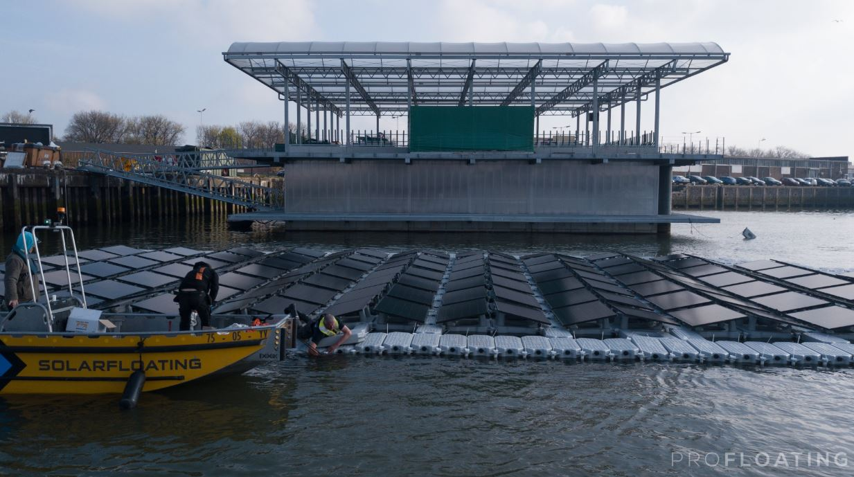 Practical aspects like ease of acces of the solar panels and the ability to walk on floating solar power arrays will be tested by Profloating - Image Credit: Profloating