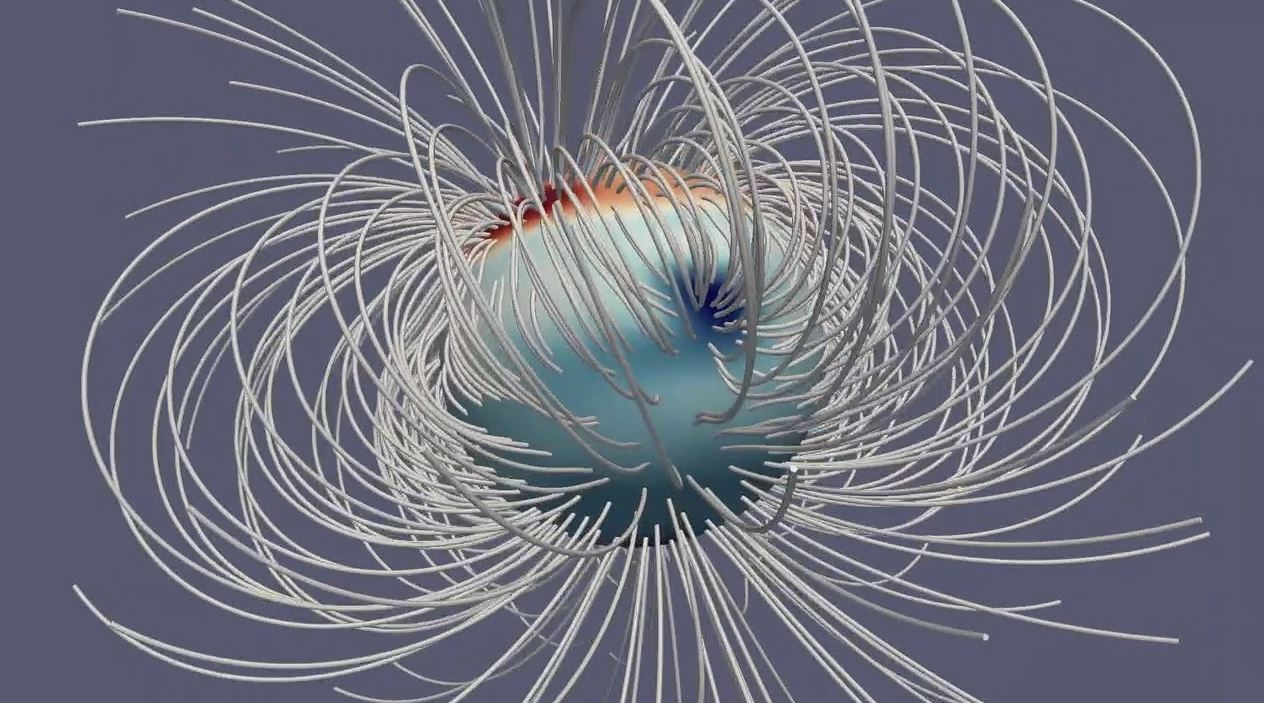 This still from an animation illustrates Jupiter's magnetic field at a single moment in time. The Great Blue Spot, an-invisible-to-the-eye concentration of magnetic field near the equator, stands out as a particularly strong feature. - Image Credits: NASA/JPL-Caltech/Harvard/Moore et al.