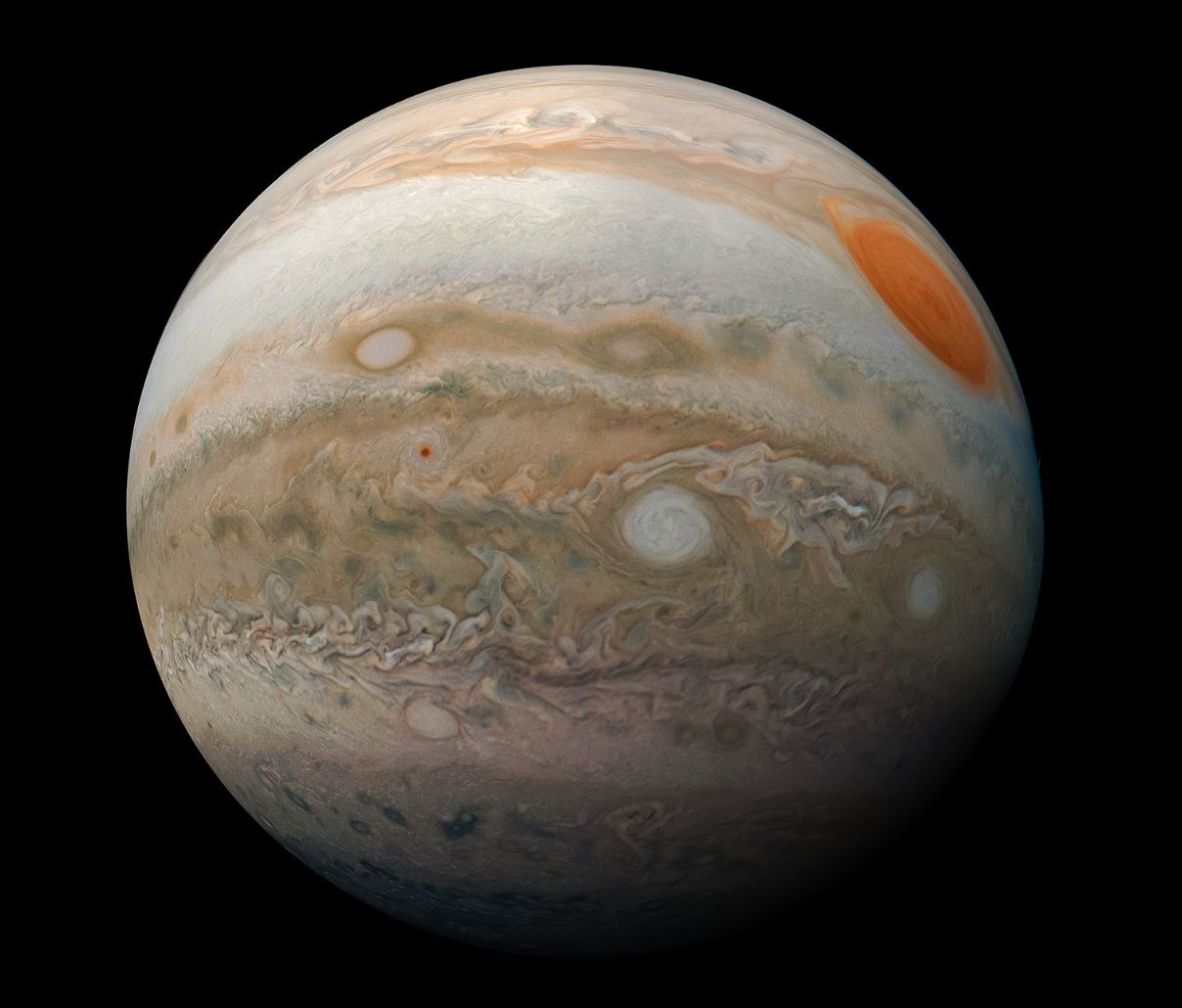 This striking view of Jupiter's Great Red Spot and turbulent southern hemisphere was captured by NASA's Juno spacecraft as it performed a close pass of the gas giant planet. - Image Credits: NASA/JPL-Caltech/SwRI/MSSS/Kevin M. Gill