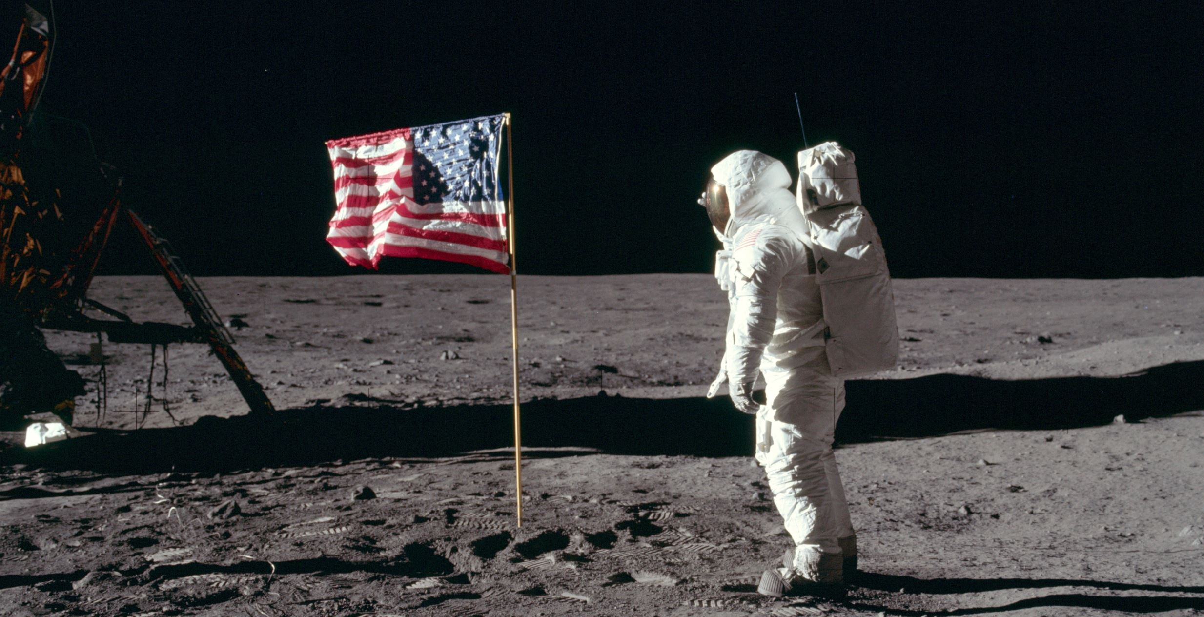Territorial claim? US astronaut Buzz Aldrin salutes the American flag. - Image Credit:  NASA./ Neil A. Armstrong via Wikimedia Commons
