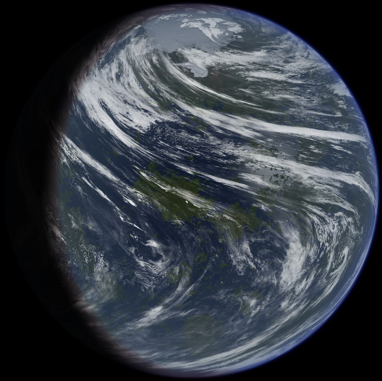 Artist's conception of a terraformed Venus, showing a surface largely covered in oceans - Image Credit:  Ittiz via Wikimedia Commons