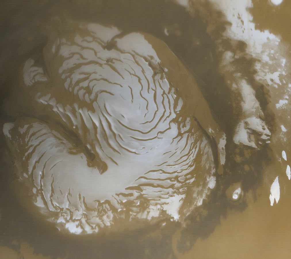 Picture of the martian north polar cap taken by the Mars Global Surveyor - Image Credit:  NASA via Wikimedia Commons(