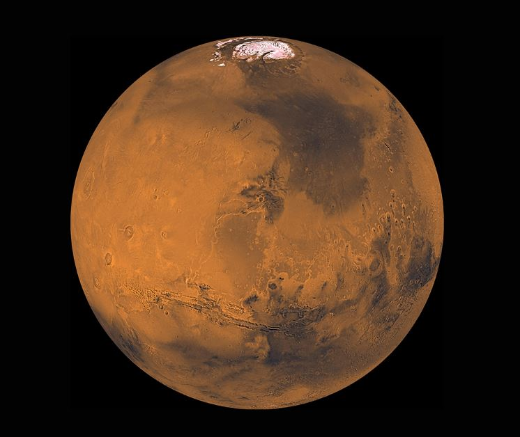 Processed picture of Mars, showing its north pole - Image Credit: NASA/JPL/USGS