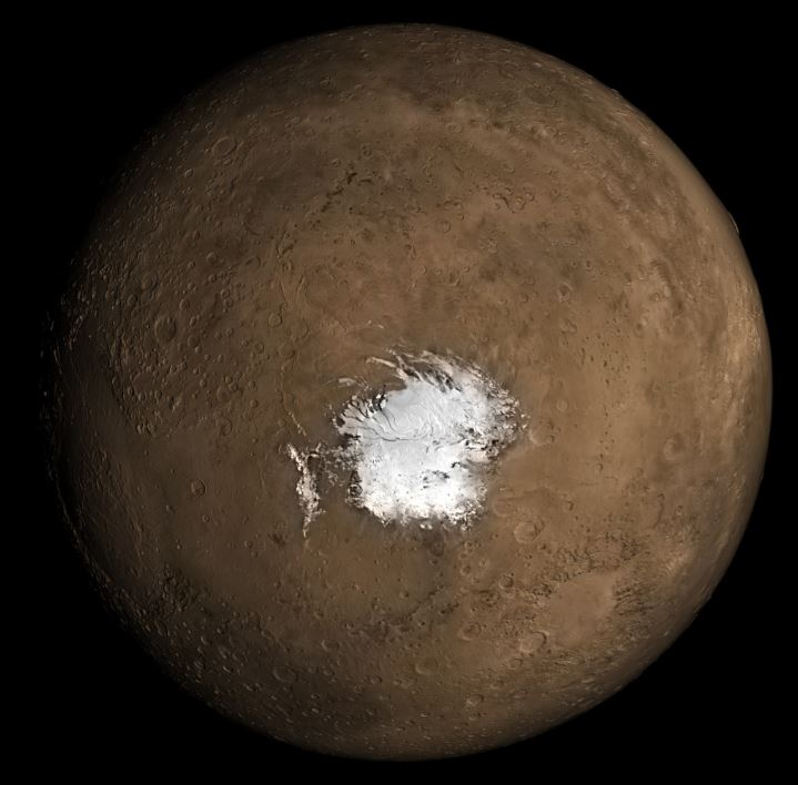An image of the Martian south pole - Image Credit - NASA