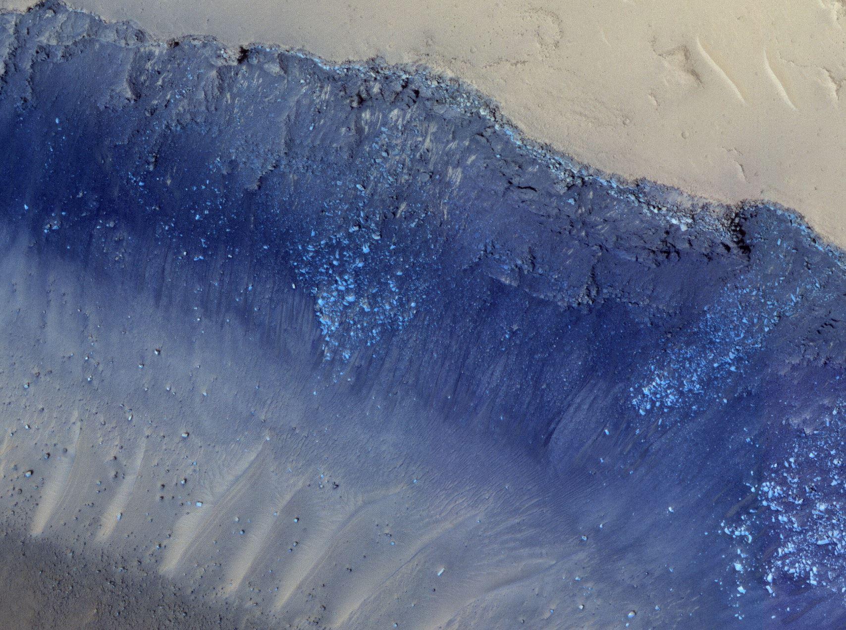 Landslides in Cerberus Fossae. - Image Credit:  NASA/JPL/U. Arizona