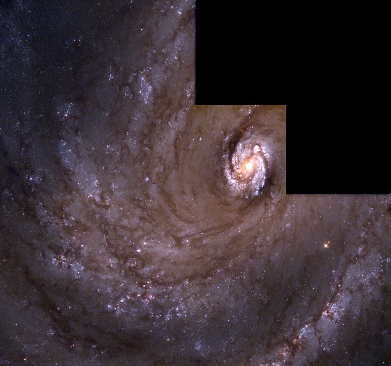 Spiral Galaxy M100 (NGC 4321) as imaged by the WFPC2 on the Hubble. - Image Credit:  J. Trauger, JPL and NASA/ESA via Wikimedia Commons