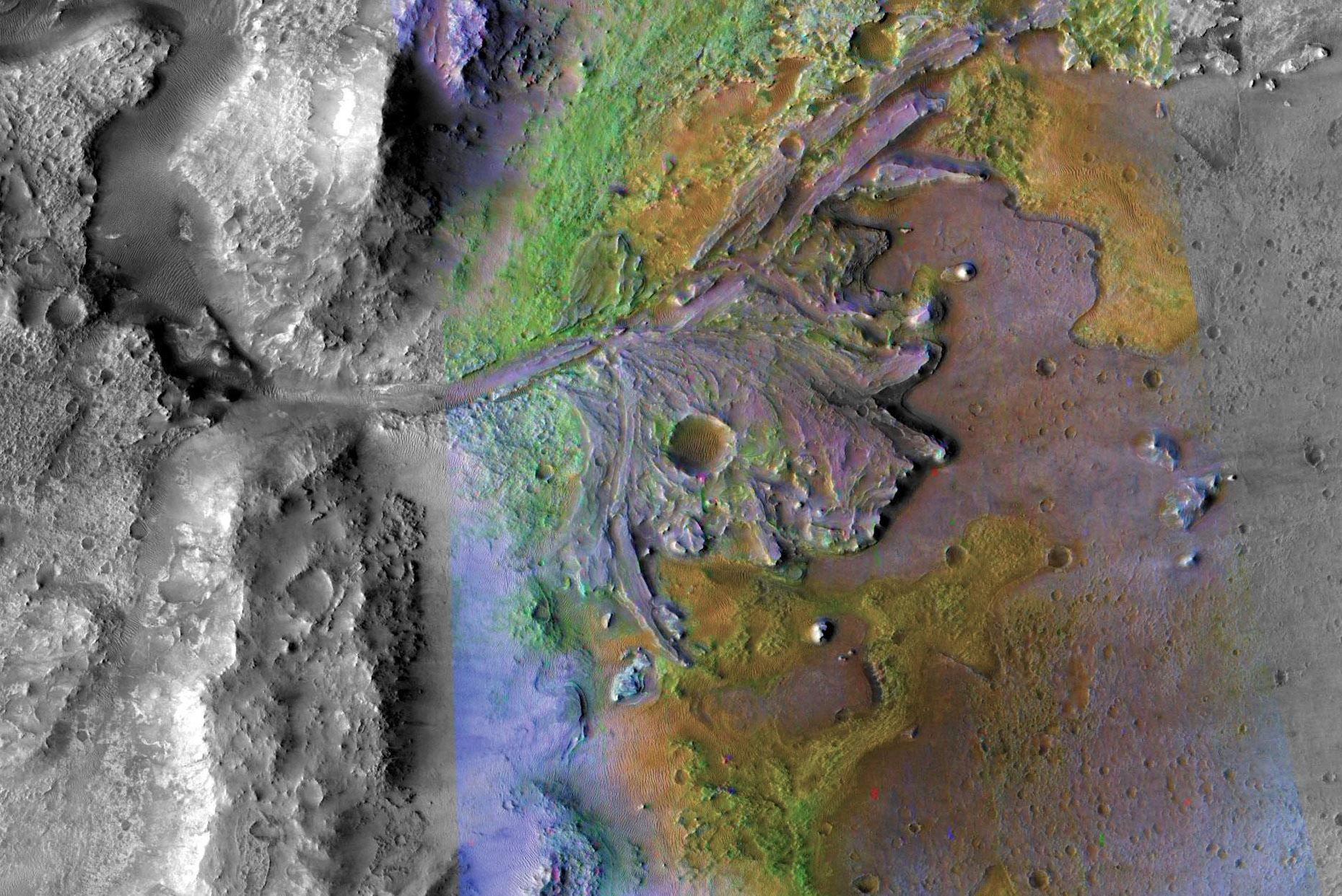 Jezero Crater on Mars is the landing site for NASA's Mars 2020 rover. This close-up image of the western edge of Jezero Crater combines an optical image from MRO's Context Camera with data from CRISM, the Compact Reconnaissance Imaging Spectrometer for Mars. The Spectrometer data shows that sediments carried into the lake and deposited at the bottom contain clays and carbonates. Some of the carbonates indicate that the water was the correct pH for life - Image Credit:  NASA/JPL-Caltech/ASU