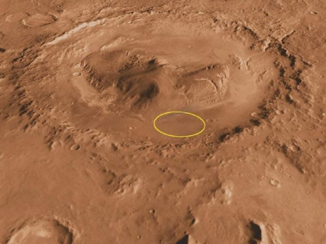 An oblique image of Mt. Sharp inside Gale Crater on Mars. The yellow ellipse is Curiosity's landing spot. - Image Credit: NASA/JPL