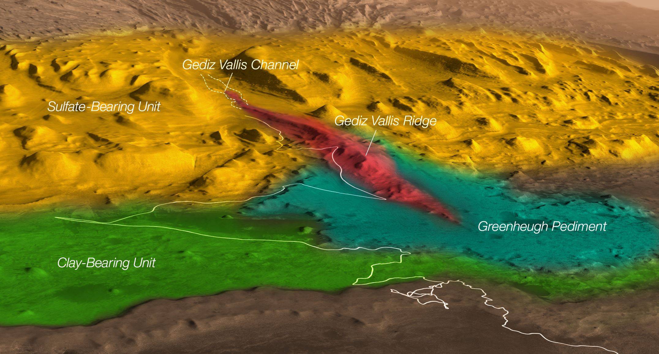 A coloured, annotated map of Mt. Sharp and a proposed route through the different regions scientists would like to explore with MSL Curiosity. Currently, the rover is exploring the Clay-Bearing Unit. The goal is to explore all these regions to learn about how Mars dried up over time, and how that may have affected its ability to support life. - Image Credit: NASA/JPL-Caltech/ESA/Univ. of Arizona/JHUAPL/MSSS/USGS Astrogeology Science Center