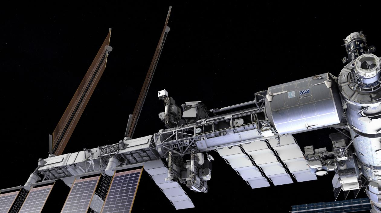 The NICER payload, shown here on the outside of the International Space Station. - Image Credits: NASA