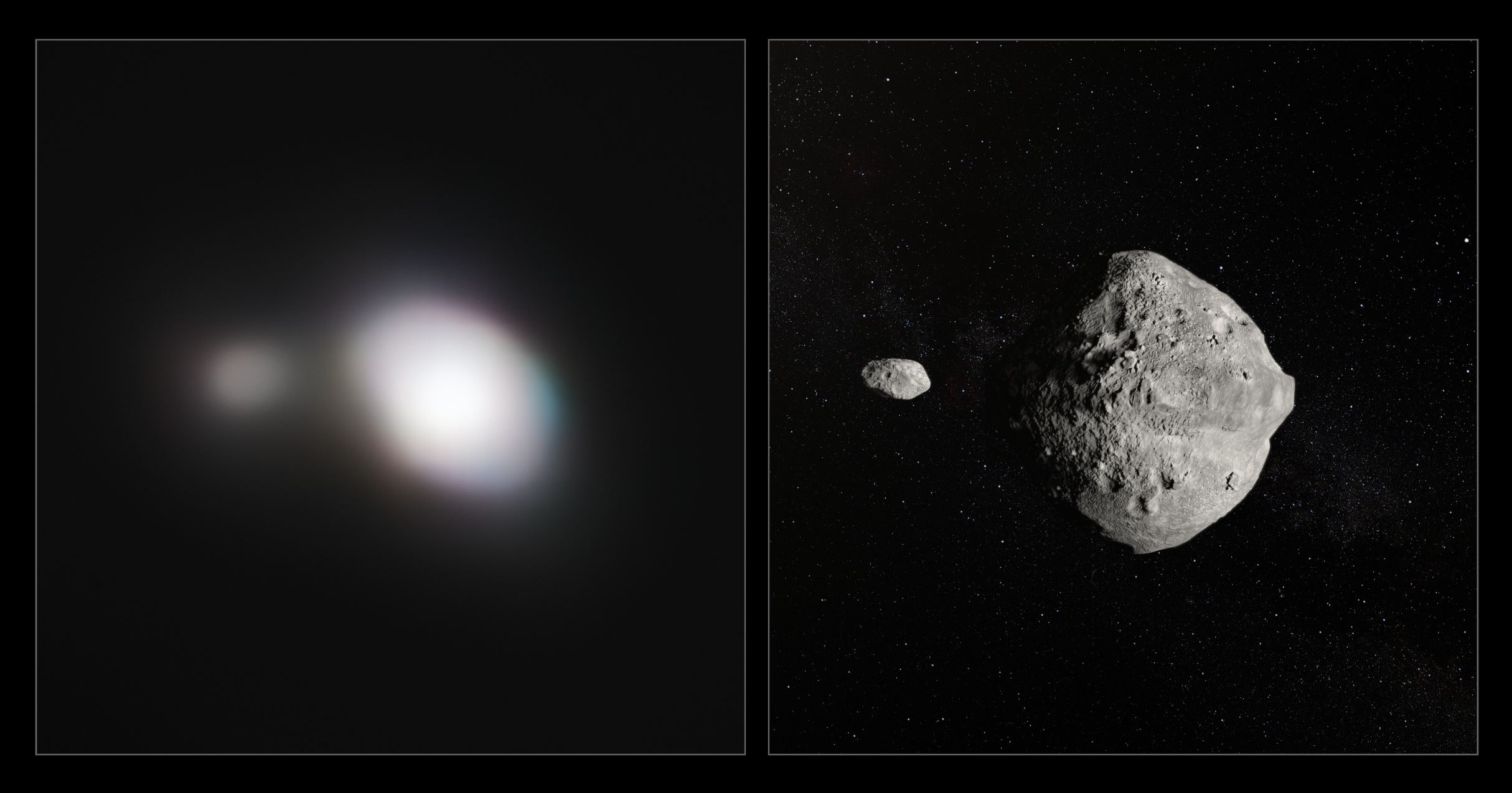 The unique capabilities of the SPHERE instrument on ESO's Very Large Telescope have enabled it to obtain the sharpest images of a double asteroid as it flew by Earth on 25 May. While this double asteroid was not itself a threatening object, scientists used the opportunity to rehearse the response to a hazardous Near-Earth Object (NEO), proving that ESO's front-line technology could be critical in planetary defence.  The left-hand image shows SPHERE observations of Asteroid 1999 KW4. The angular resolution in this image is equivalent to picking out a single building in New York — from Paris. An artist's impression of the asteroid pair is shown on the right. - Credit: ESO