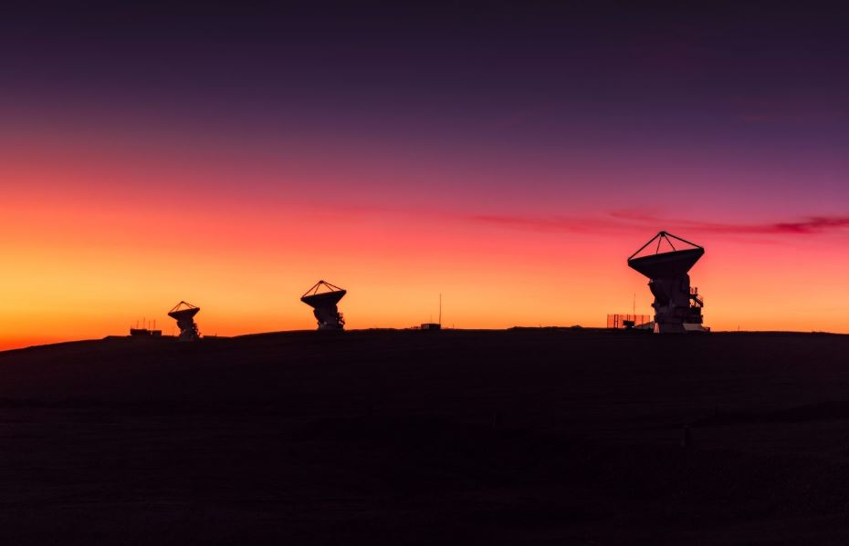 Three of the dishes that make up the Atacama Large Millimeter/submillimter Array (ALMA). Image Credits: H. Calderón – ALMA (ESO/NRAO/NAOJ)