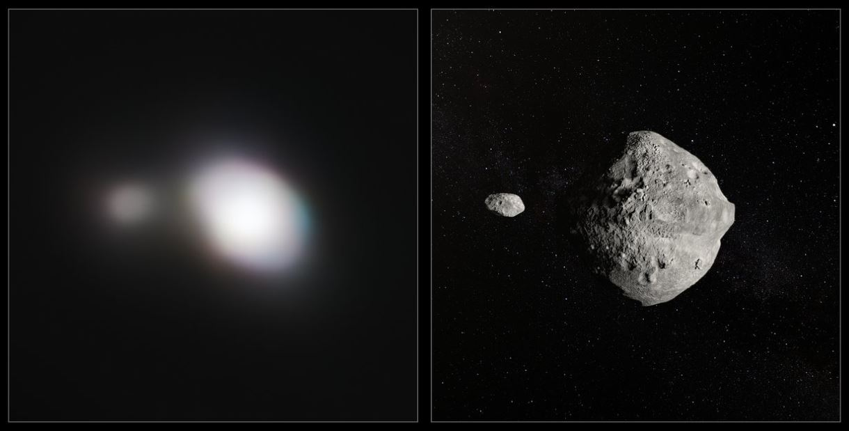 The unique capabilities of the SPHERE instrument on ESO's VLT enabled it to obtain the sharpest images of the double asteroid as it flew by Earth on May 25th. - Image Credits: ESO