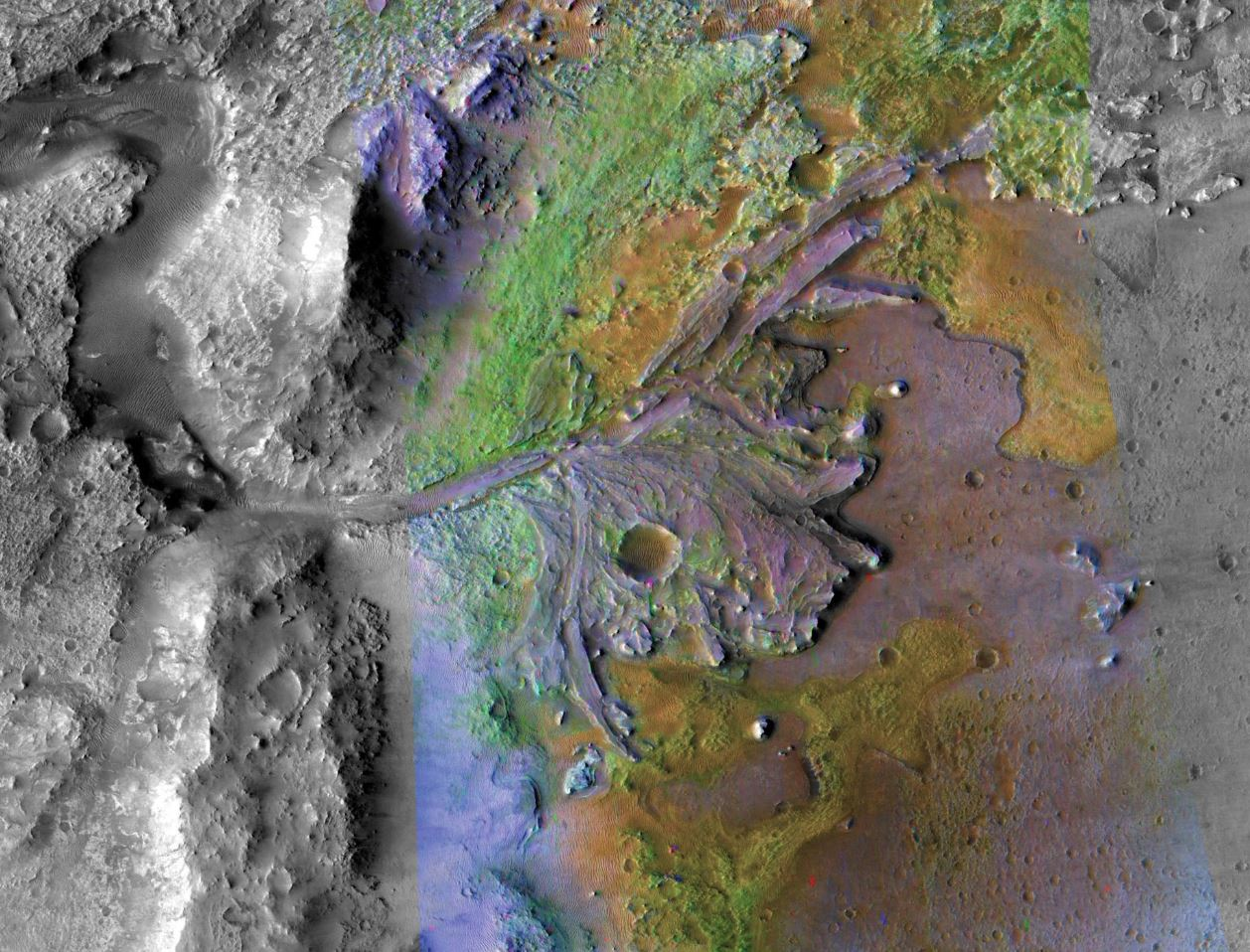 "The Mars 2020 rover is headed for Jezero crater. In addition to a stunning river delta, Jezero also has exposures of the potential ashfall deposit that was the focus of this study. The rover could confirm these new findings, which will be one of the rover's ""top 10 discoveries,"" says Brown professor Jack Mustard. - Image Credits: NASA/JPL/JHUAPL/MSSS/Brown University"
