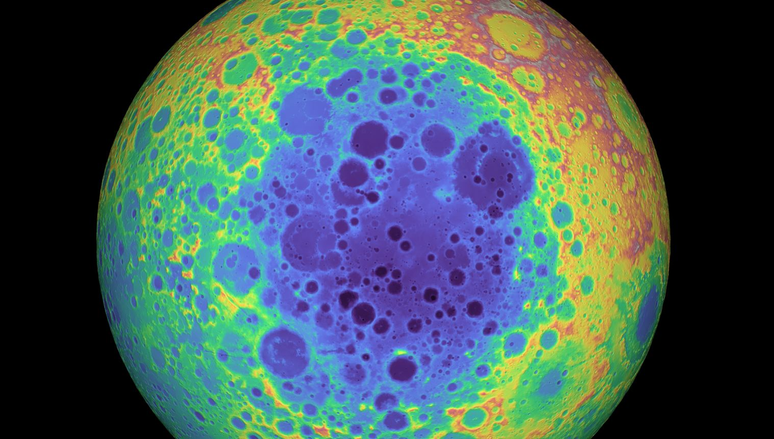 A false-colour graphic of the far side of the Moon showing the impact crater. - Image Credits:  NASA/GSFC/University of Arizona