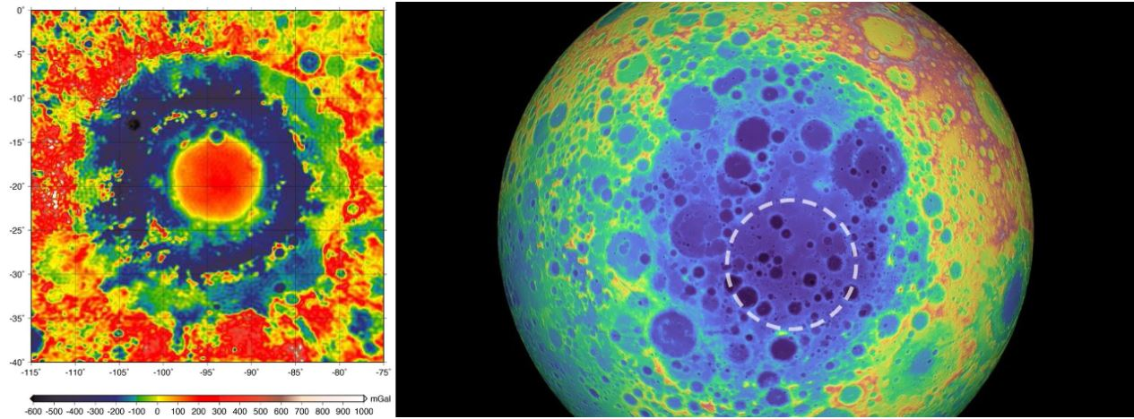 A side by side comparison of SPA (right) and the Moon's Orientale Basin (left.) Note the bullseye pattern in the Orientale impact basin,a nd the absence of a bullseye pattern in the SPA basin. - Image Credit: NASA/GRAIL