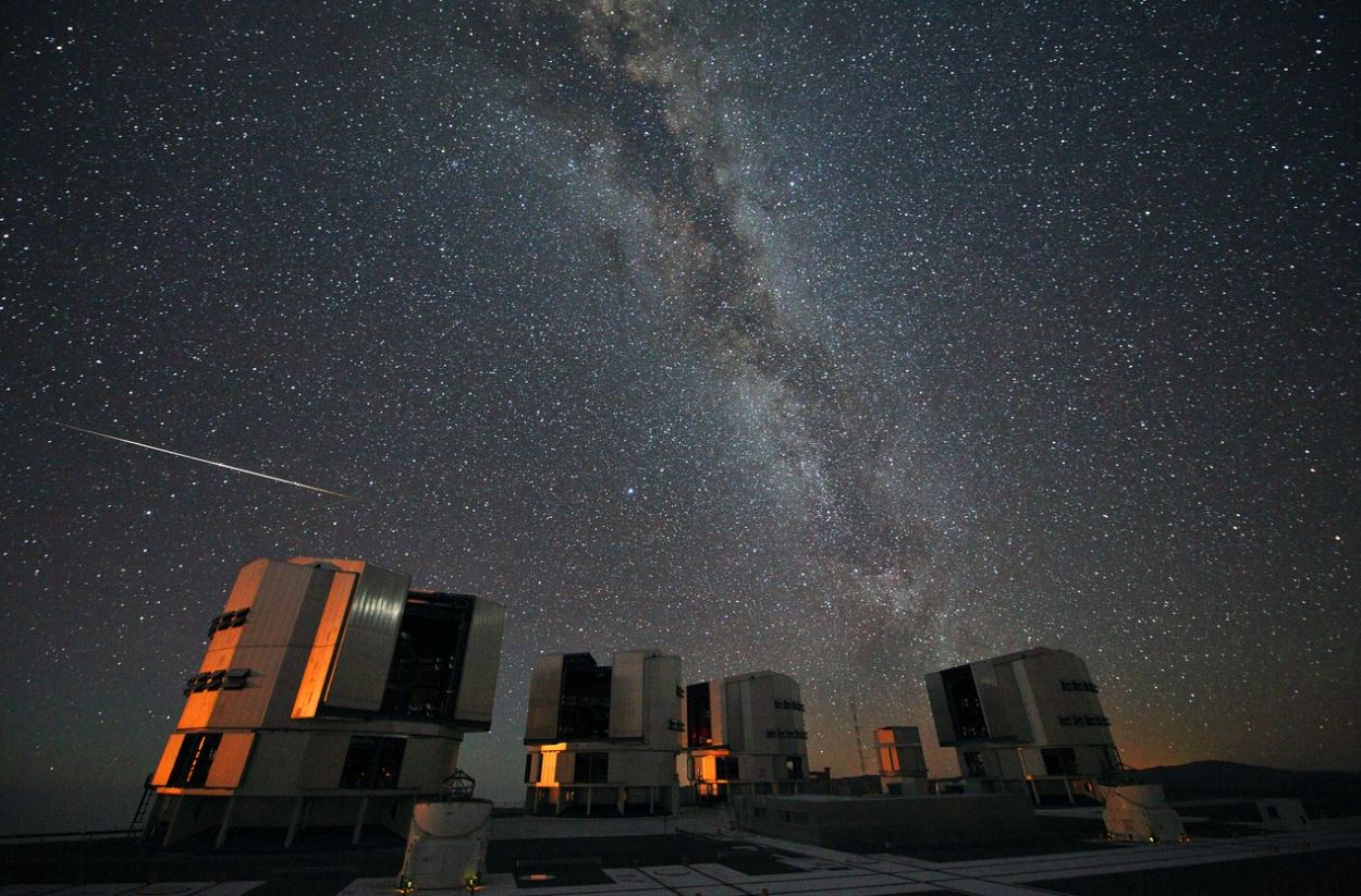 A 2010 Perseid meteor streaks over the European Southern Observatory's Very Large Telescope (VLT)  Image Credit:  ESO/S. Guisard