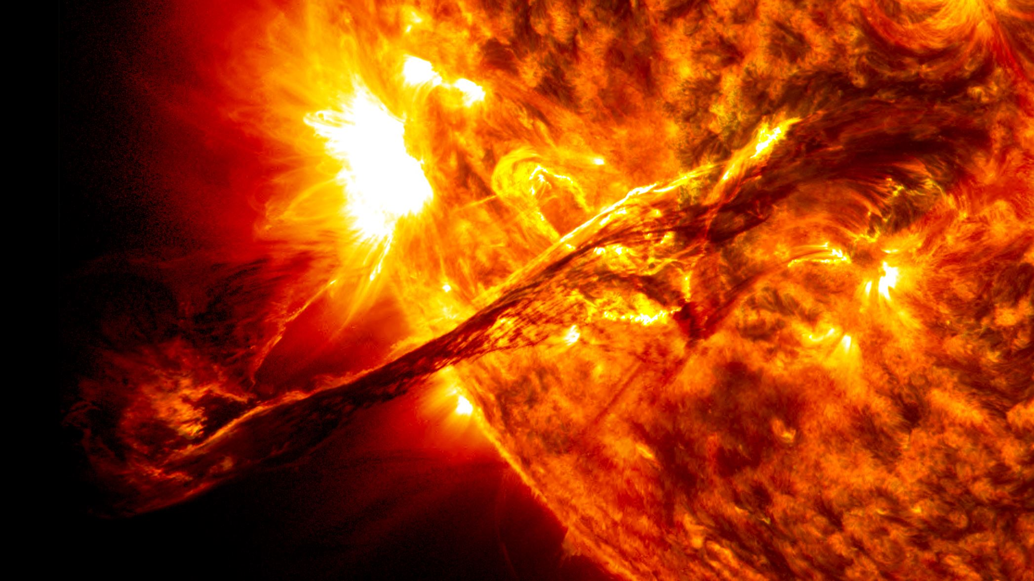 On August 31, 2012 a long filament of solar material that had been hovering in the sun's atmosphere, the corona, erupted out into space. This coronal mass ejection — an immense cloud of magnetized particles — traveled at over 900 miles per second. The ability to forecast these kinds of events on the Sun is increasingly important as NASA prepares to send humans to the Moon under the Artemis program. - Image Credit: NASA's Goddard Space Flight Center