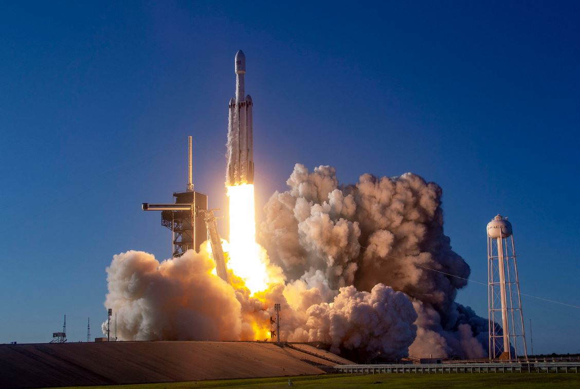 A Falcon Heavy rocket during launch - Image Credit:  SpaceX via flickr