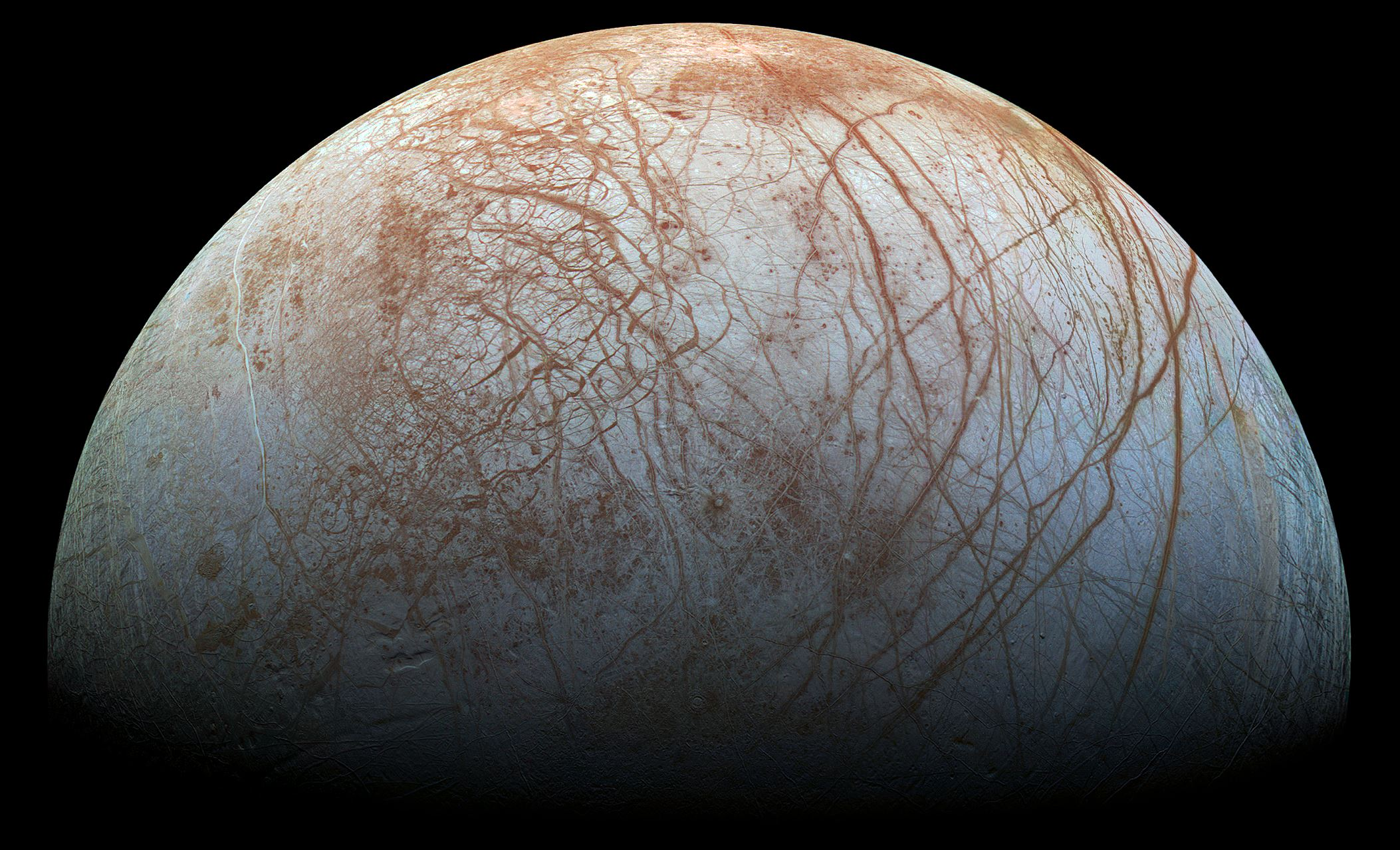 Varied terrain on Europa - Image Credit:  NASA / Jet Propulsion Lab-Caltech / SETI Institute via Wikimedia Commons