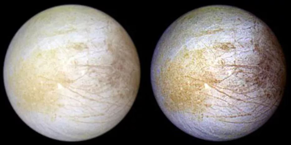 Europa in natural colour on the left, and false colour on the right. The brown/red regions on the right might correspond to the sulphuric acid regions, the yellow-ish terrain on the left is now thought to be produced by sodium chloride. - Image Credit: NASA/JPL/University of Arizona