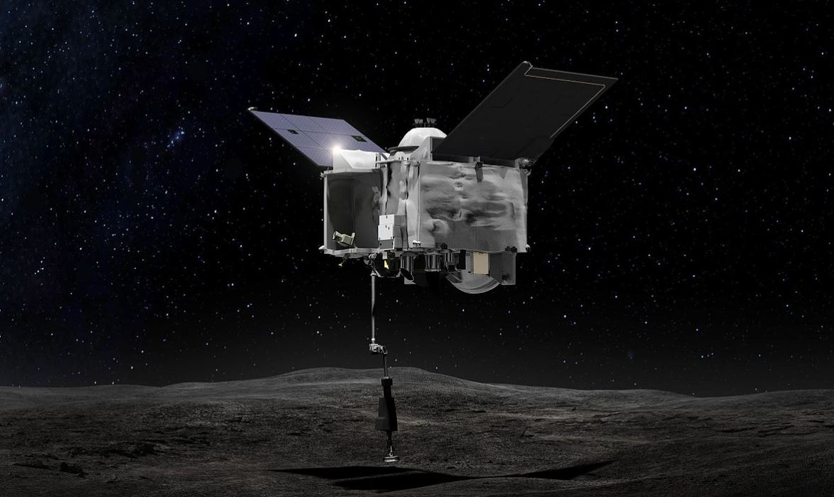n artist's illustration of OSIRIS-REx's TAGSAM collecting a sample from Bennu's surface. Image Credit: By NASA/Goddard Space Flight Center - Image Credits:  NASA/Goddard Space Flight Center via Wikimedia Commons