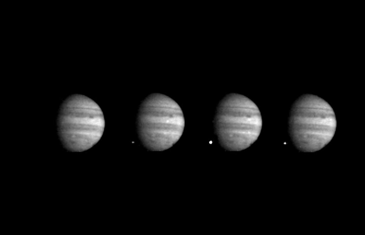 These 4 images of Jupiter and the luminous night-side impact of fragment W of Comet Shoemaker-Levy 9 were taken by the Galileo spacecraft on July 22, 1994. The spacecraft was 238 million kilometers (148 million miles) from Jupiter at the time, and 621 million kilometers from Earth. Galileo was about 40 degrees from Earth's line of sight to Jupiter, permitting this direct view. The images were taken at intervals of 2 1/3 seconds, using the green filter (visible light).- Image Credit: NASA/JPL