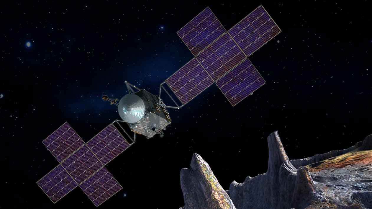 Artist's impression of NASA's asteroid mission nearing the surface of the Psyche. - Image Credit: NASA/JPL-Caltech