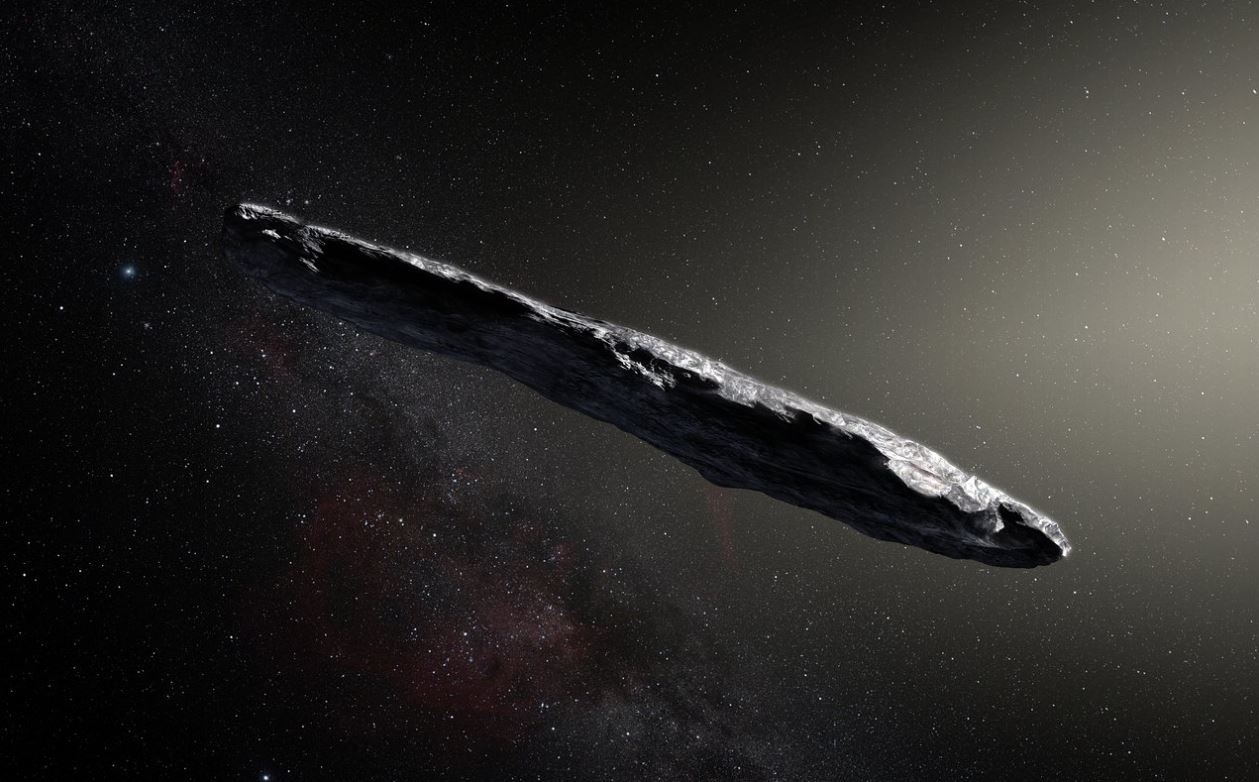 "Artist's impression of the first interstellar asteroid/comet, ""Oumuamua"". This unique object was discovered on 19 October 2017 by the Pan-STARRS 1 telescope in Hawaii. - Image Credits: ESO/M. Kornmesser"