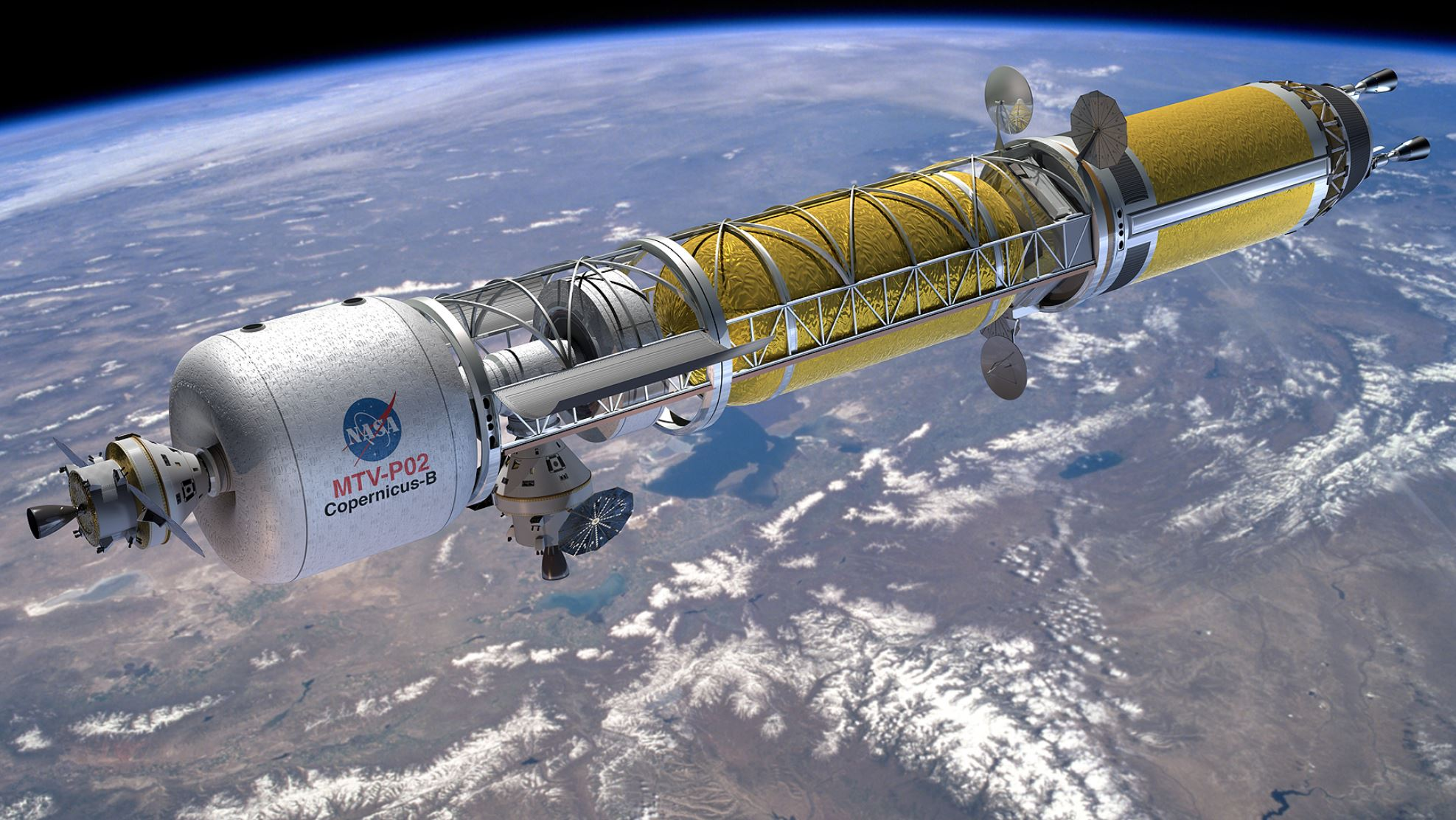 Artist's concept of a Bimodal Nuclear Thermal Rocket in Low Earth Orbit - Image Credit: NASA