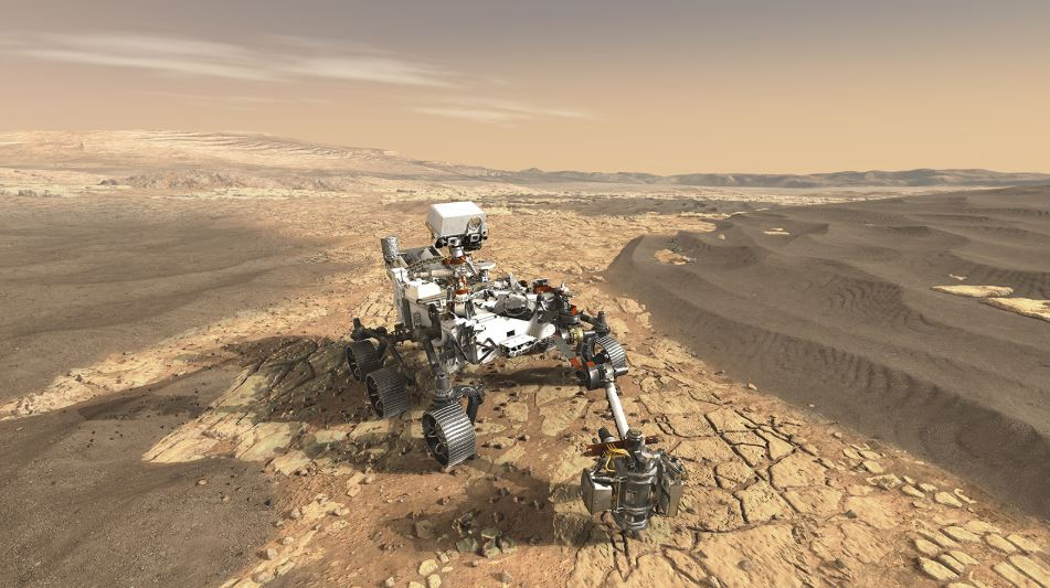 This artist's concept depicts NASA's Mars 2020 rover while exploring Mars. - Image Credits: NASA/JPL-Caltech