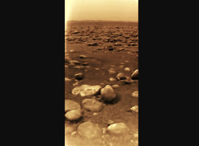 The first-ever images of the surface of Titan, taken by the Huygens probe. - Image Credits: ESA/NASA/JPL/University of Arizona