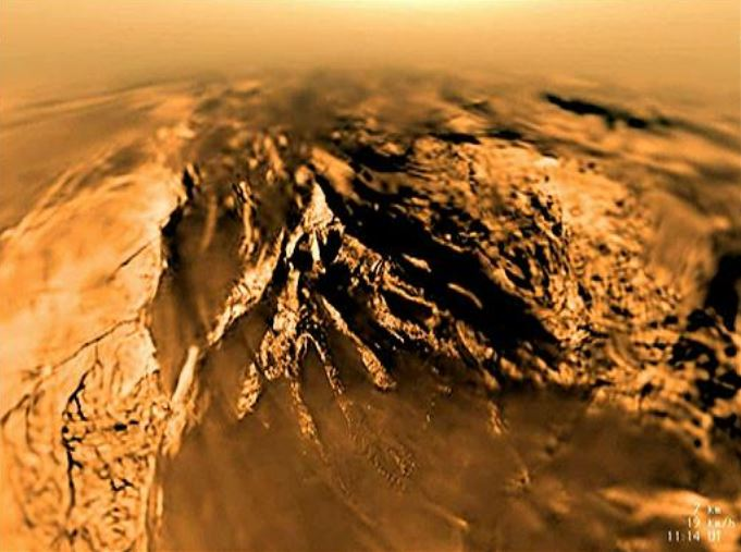 The view of Titan from the descending Huygens spacecraft on January 14, 2005. - Image Credit: ESA/NASA/JPL/University of Arizona.