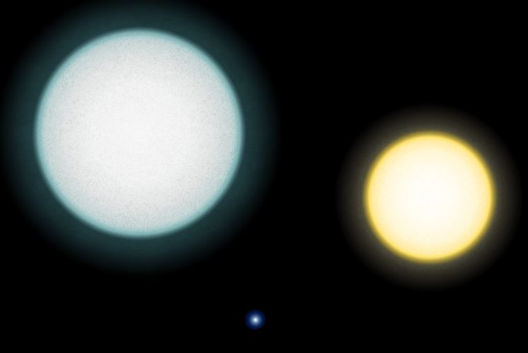 The star on the left shrinks and becomes the white dwarf in the middle of the image. On the right is our own sun, for comparison.- Image Credit:  RJHall via Wikimedia Commons