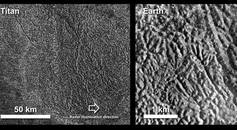 An image of Titan's labyrinth terrain compared to an area of canyons on Earth. The Earth photo is from the island of Java in Indonesia, in an area called Gunung Kidul. - Image Credits: NASA/Cassini