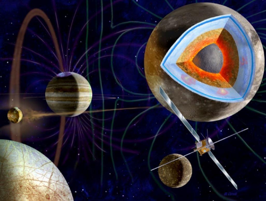 Artist concept of JUICE, a Jupiter moons orbiter mission. - Image Credits: ESA