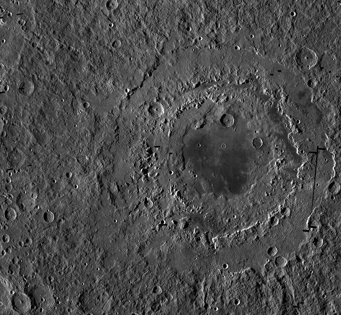Orientale basin is about 930km wide and has three distinct rings, which form a bullseye-like pattern. This view is a mosaic of images from NASA's Lunar Reconnaissance Orbiter. = Image Credits:  NASA/GSFC/Arizona State University
