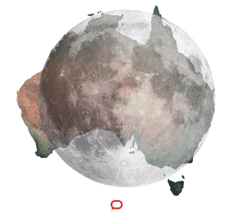 The Moon vs Australia - Image Credit:. NASA/Google Earth