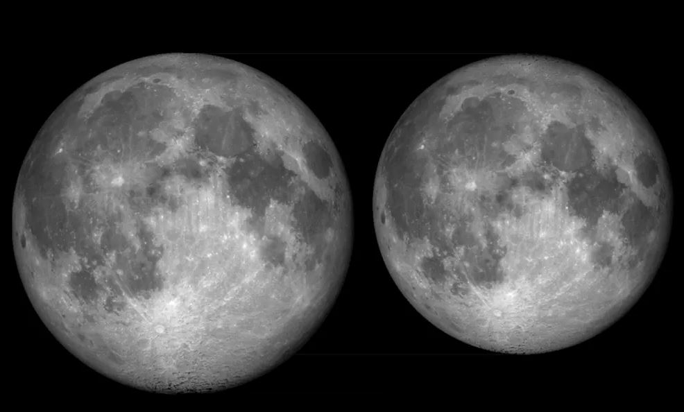 Notice the difference in size? The Moon viewed from Earth at perigee (closest approach at 356,700km on October 26 2007) and apogee (farthest approach at 406,300km on April 3 2007). - Image Credits:  Wikimedia/Tomruen ,  CC BY-SA
