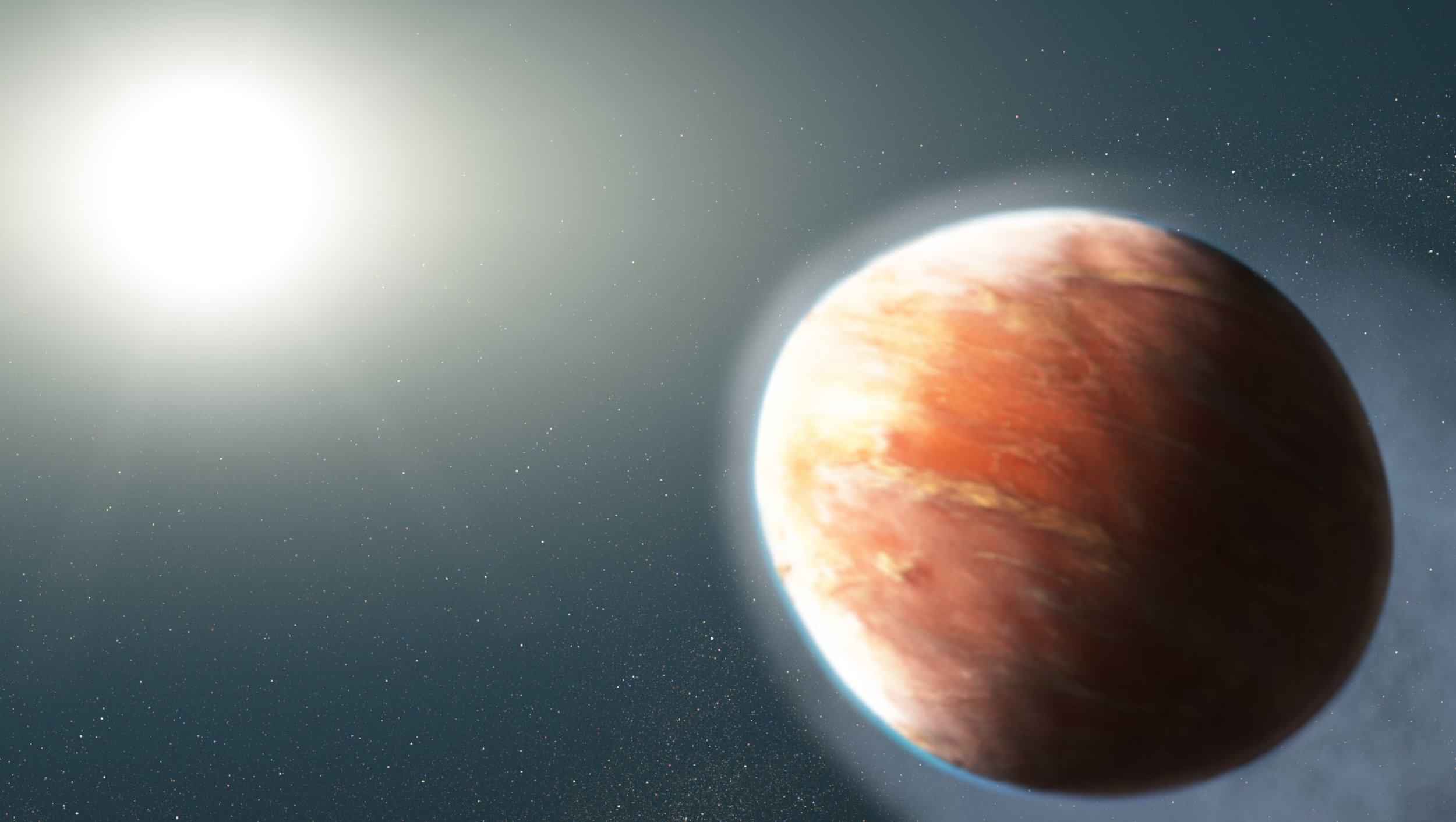 """This artist's illustration shows an alien world that is losing magnesium and iron gas from its atmosphere. The observations represent the first time that so-called """"heavy metals""""—elements more massive than hydrogen and helium—have been detected escaping from a hot Jupiter, a large gaseous exoplanet orbiting very close to its star.The planet, known as WASP-121b, orbits a star brighter and hotter than the Sun. The planet is so dangerously close to its star that its upper atmosphere reaches a blazing 4,600 degrees Fahrenheit. A torrent of ultraviolet light from the host star is heating the planet's upper atmosphere, which is causing the magnesium and iron gas to escape into space. Observations by Hubble's Space Telescope Imaging Spectrograph have detected the spectral signatures of magnesium and iron far away from the planet.The planet's """"hugging"""" distance from the star means that it is on the verge of being ripped apart by the star's gravitational tidal forces. The powerful gravitational forces have altered the planet's shape so that it appears more football shaped.The WASP-121 system is about 900 light-years from Earth. - Image Credits: NASA, ESA, and J. Olmsted (STScI)"""