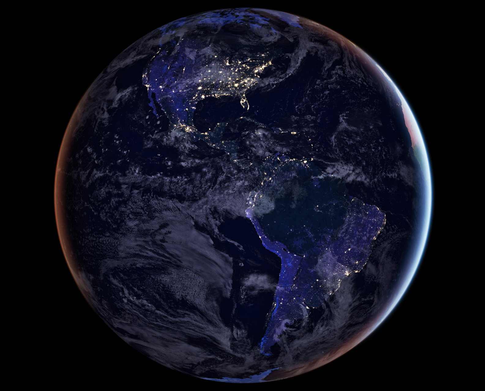 Image Credit:  NASA Earth Observatory image by Joshua Stevens, using Suomi NPP VIIRS data from Miguel Román, NASA's Goddard Space Flight Center  -  HDR tune by Universal-Sci
