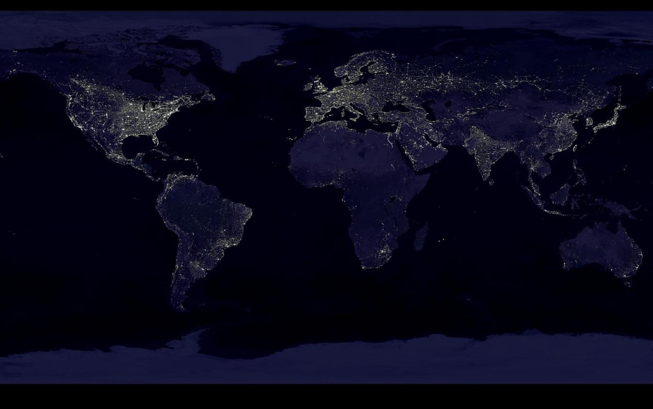 Earths lights as seen at night - Image Credits:  NASA/NOAA