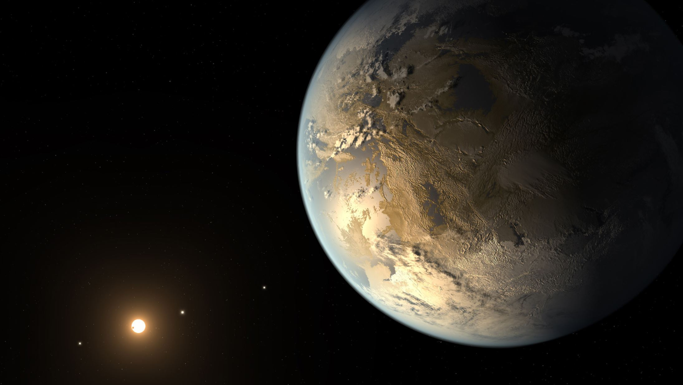 Artist's concept depicts Kepler-186f, the first validated Earth-size planet to orbit a distant star in the habitable zone. -   Image credits:  NASA/Ames/SETI Institute/JPL-Caltech