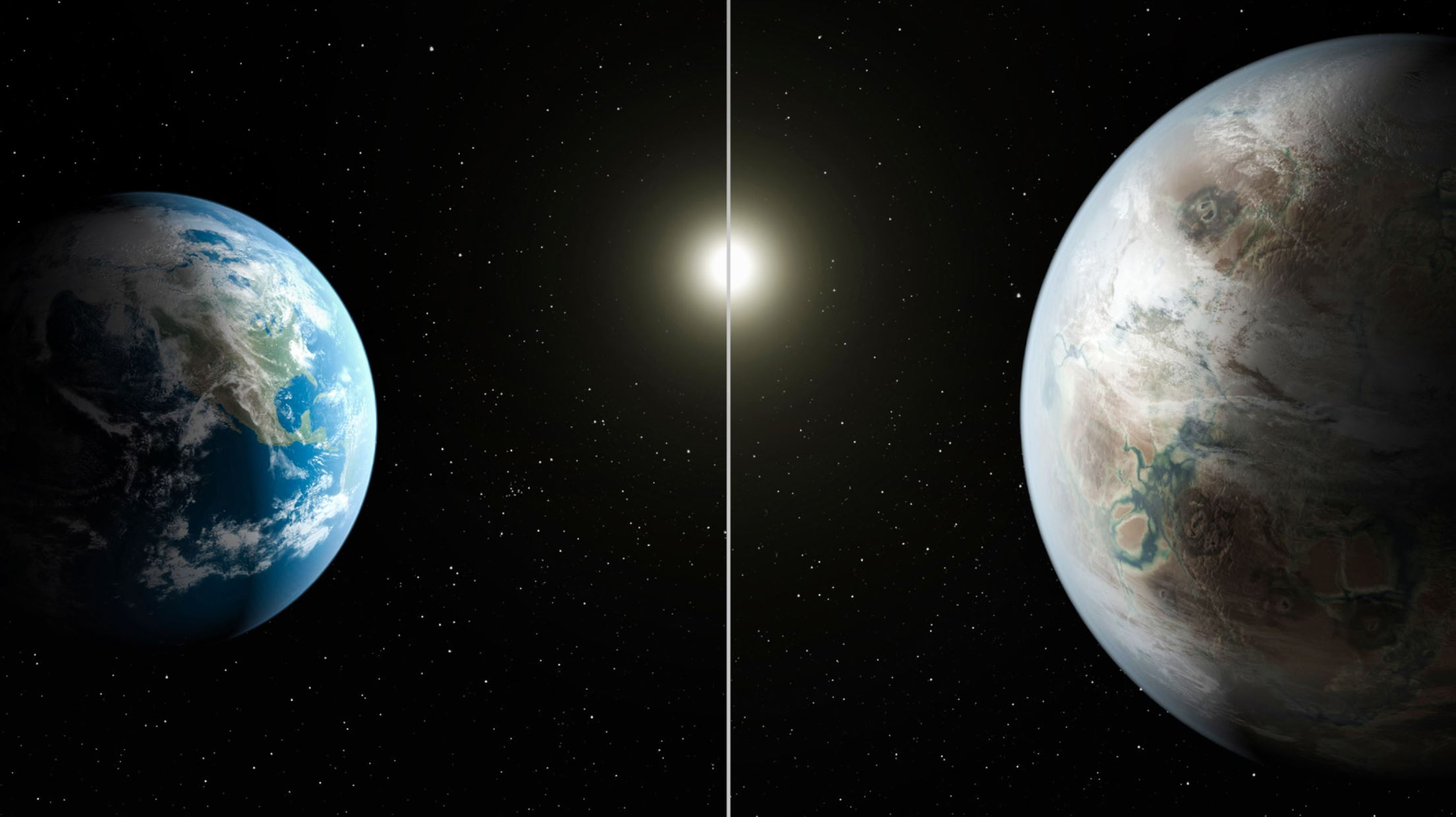 An artist comparison of earth and an exoplanet orbiting a similar star - Image Credits:  NASA/Ames/JPL-Caltech