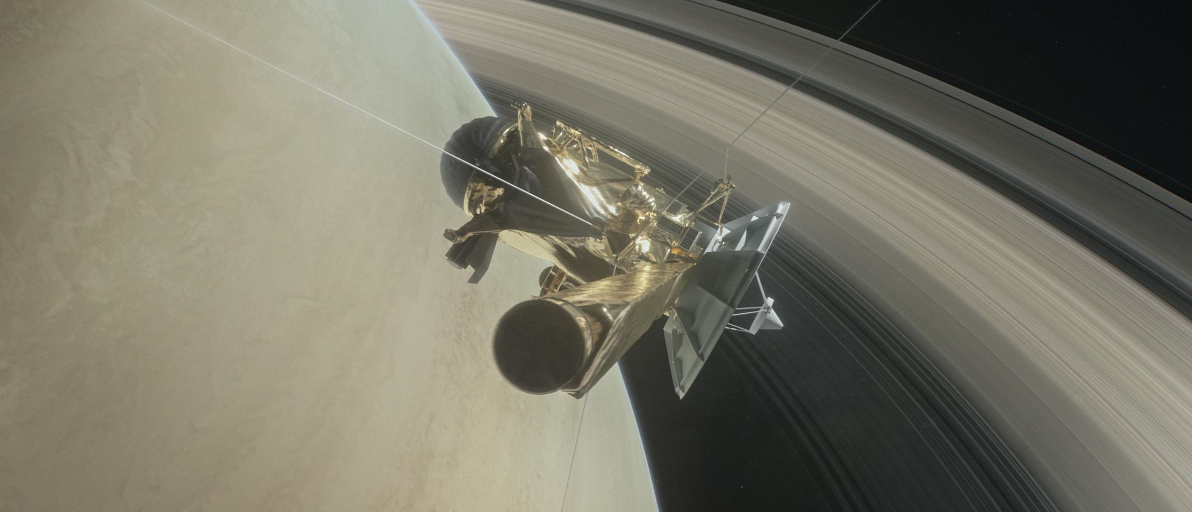 NASA's Cassini spacecraft about to make one of its dives between Saturn and its innermost rings as part of the mission's grand finale. - Image Credits:  NASA/JPL-Caltech