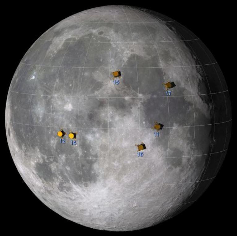 Apollo landing sites. - Image Credits: NASA/Goddard Space Flight Center Scientific Visualization Studio